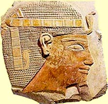 Relief from Mentuhotep's temple at Deir el Bahri showing the king wearing a short wig